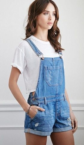3b30d9461c4 Denim short jumpsuit is made with denim material and incorporating stretch  material