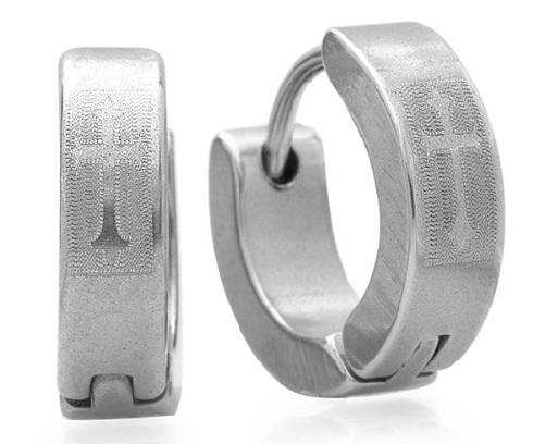 Cross Shaped Hoop Platinum Earrings For Men