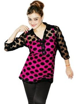 25b3c9b67d Looking for skinny and beautiful tops design! A black net top with dotted  design in black is quite attractive. The top is given a shirt type look  with long ...