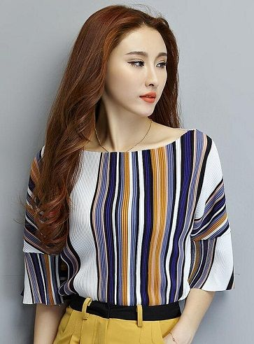 750489a4fa8b99 Women s designer tops in striped pattern are ever-green. They are a  must-have in every girl s wardrobe
