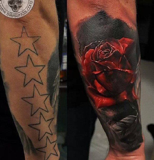 3D Rose cover up tattoo-5