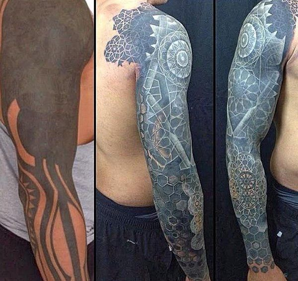A before and after picture showing the amount of work Nathan Mould put on a sleeve-47