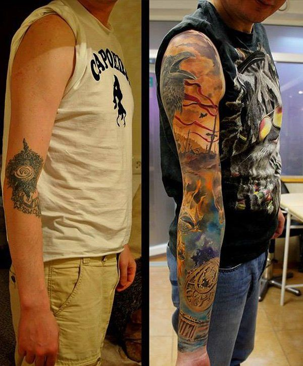 Barvno full sleeve cover up tattoo-17