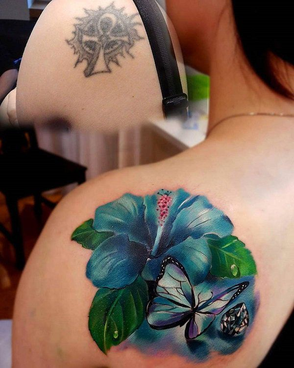 Hibiskus and butterfly cover up tattoo-37