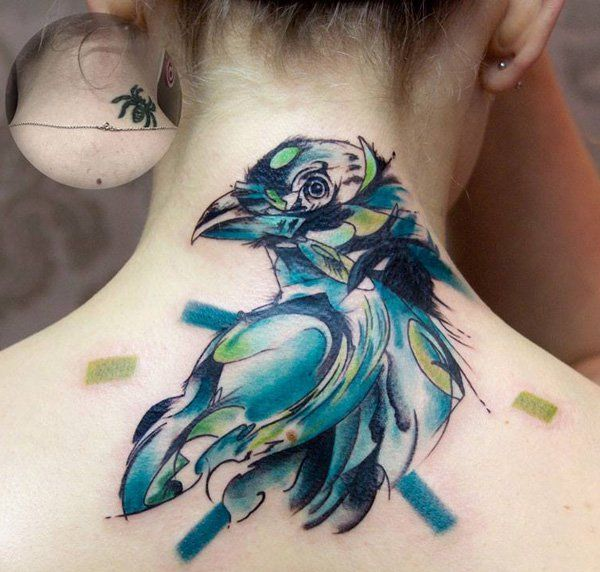 Akvarel bird cover up tattoo-13