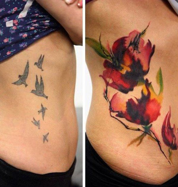 Akvarel flower cover up tattoo-19