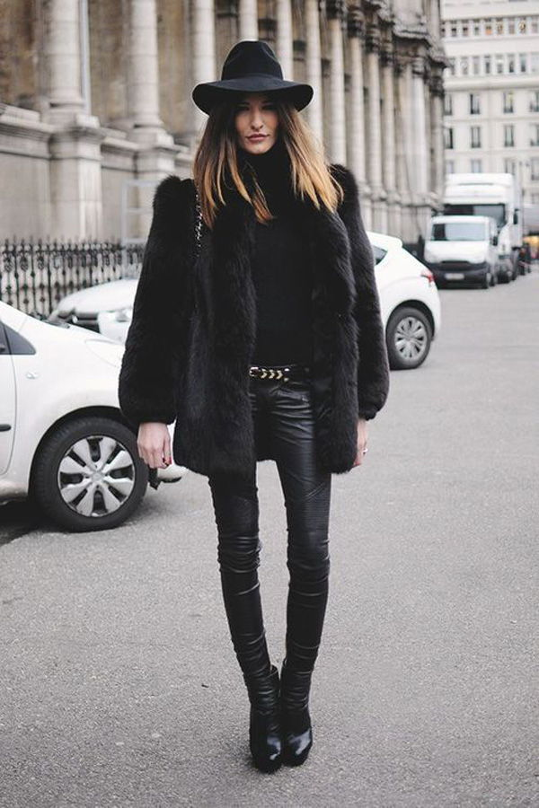 gorgeous furs with leather pants