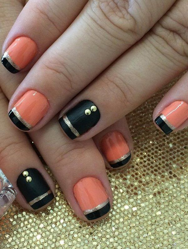 Black and pink frech nail