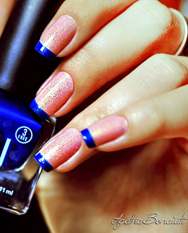 Blue and pink frech nail