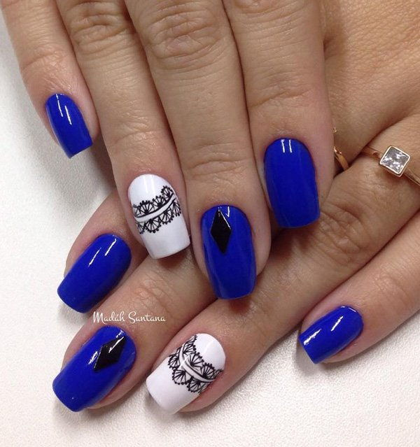 blue and white with lace nail art
