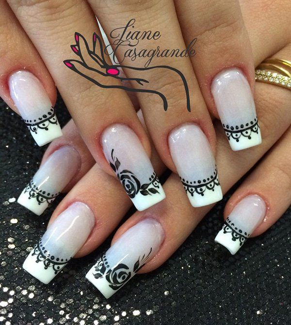 Gary and white with flower frech nail art