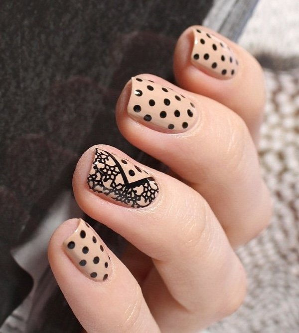 Nude color with dots and lace nail art