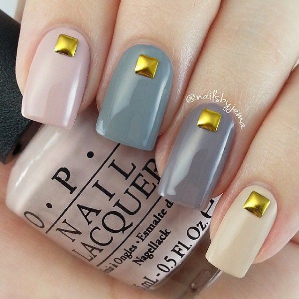 Gray and nude color with metal decoration nail art