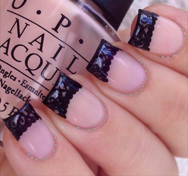Nude color with black lace nail art