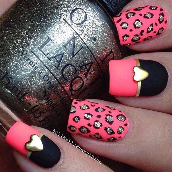 Pink and black with leopard nail