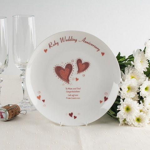Personalized Ruby Heart Plate: