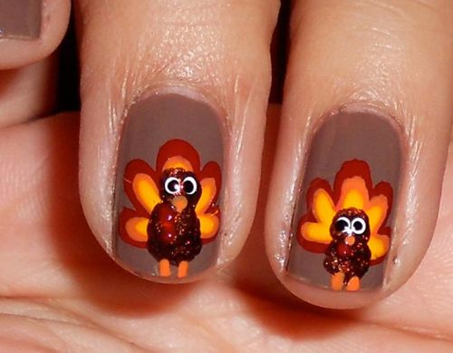 Turkey inspired Nail Art - 9 Easy Thanksgiving Nail Art Designs With Images Style At Life
