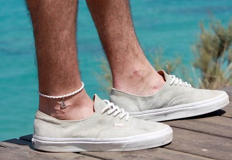 Simplu Leather Anklet with Silver Boat
