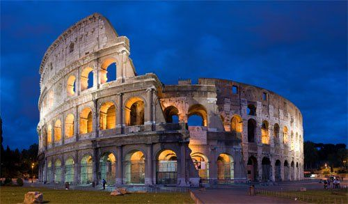Roma in Italy and the coliseum